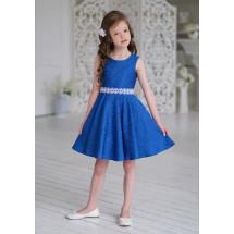 Платье нарядное синего цвета из жаккардовой ткани Амадея
