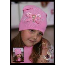 Шапка розовая удлиненная с украшением