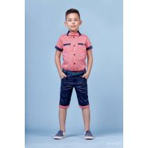 """Костюм для мальчиков коралловый с синим из трех предметов """"Summer"""""""