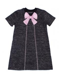 Платье для девочек серого цвета с бантиком