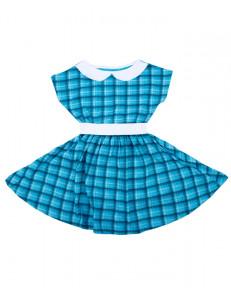 Платье с коротким рукавом бирюзовое в клетку