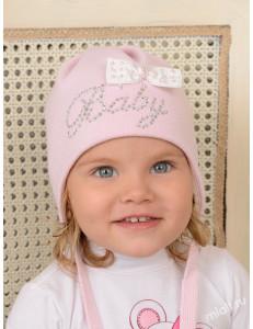 """Шапка для малышки демисезонная розового цвета с завязками """"Sweet baby"""""""