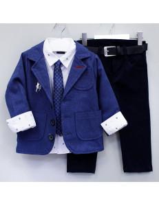 """Костюм для мальчиков синего цвета из 5-ти предметов """"Генри"""""""