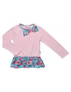 """Футболка для девочек розового цвета с цветочным принтом """"В райском саду"""""""