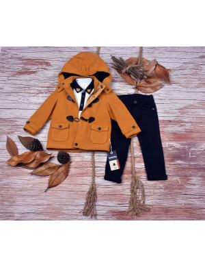 Комплект для мальчиков с горчичным пальто bebus из 3-х предметов