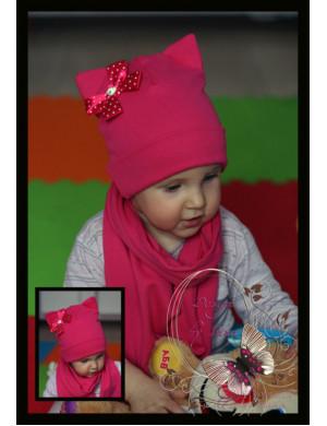 Комплект весенний малиновый с бантиком (шапка-кошка и шарф)